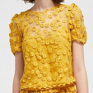 Yellow French Connection Floral Top